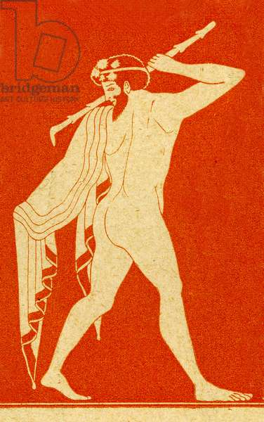 Dionysiad male reveller, Illustration from Notor's Lysistrata,  1898 (litho)