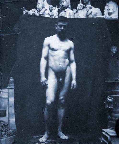 Nude portrait of Samuel Murray in Eakin's studio, 1890 (cyanotype)