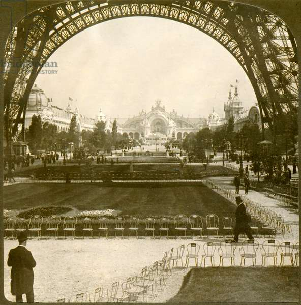 View of Palais de l'Electricité and Champ de Mars through the Eiffel Tower