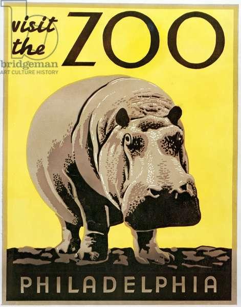 Poster advertising Philadelphia Zoo, 1938 (colour Litho)