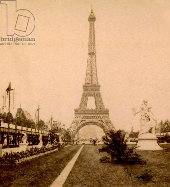 View of Eiffel Tower and Palais du Trocadéro from Jardin du Champ de Mars, Paris, France. 1889 (photo)
