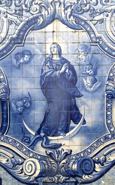 Detail of a decorative panel showing the Virgin Mary crushing the Serpent, Lamego, Portugal. 1738 (ceramic tiles)