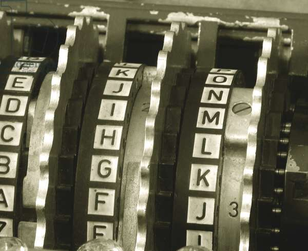 Enigma cipher machine, detail of the three rotors (photo)