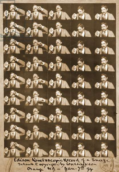 Edison kinetoscopic record of a sneeze c.1894 (b/w photo)