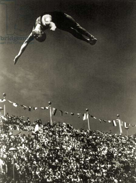 Al Greene competing in the Berlin Olympic Games Diving event (Kunstspringen), 1936 (b/w photo)