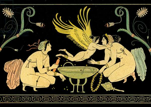 Two Women bathing, visited by Eros, Illustration from Notor's Lysistrata,  1898 (litho)