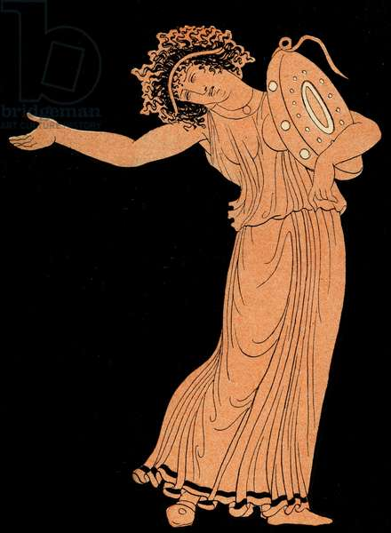 Female Dancer with tambourine, Illustration from Notor's Lysistrata,  1898 (litho)
