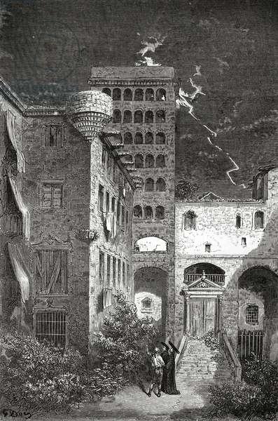 Barcelona Prison of Inquisition, illustration from 'Le Tour du Monde' magazine, 1862 (engraving)