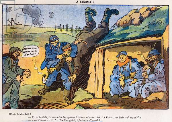 German soldier captured by French soldiers as a result of a trick, cartoon from the 'April Fool's Day ('Poisson d'Avril') edition of 'La Baionette' magazine, 29 March 1917 (litho)