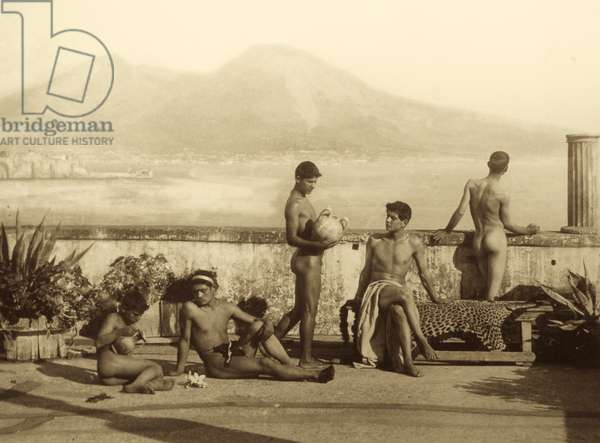 Land of Fire, a classical scene, with a view of the Vesuvius from Posillipo, Naples, Italy, 1899 (sepia photo)