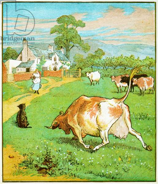 """""""This the cow with the crumpled horn that tossed the dog"""" illustration for The House that Jack Built, 1878 (litho)"""