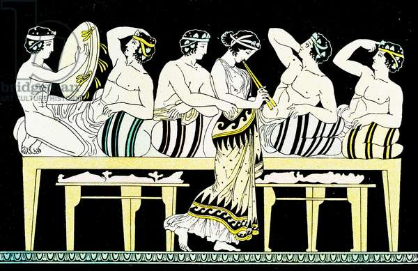 Scene of a feast, Illustration from Notor's Lysistrata,  1898 (litho)