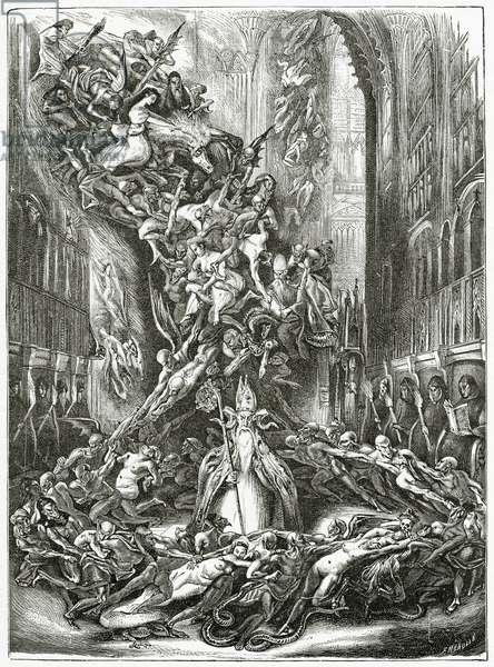 La Ronde du Sabbat,19th Century (b/w engraving)