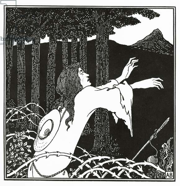 The return of Tannhauser to the Venusberg, from 'The Story of Venus and Tannhauser', 1895 (litho)