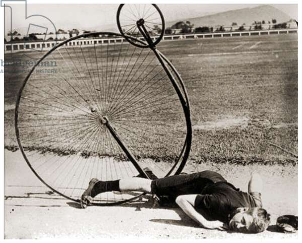 Penny-Farthing accident, c.1890 (b/w photo)