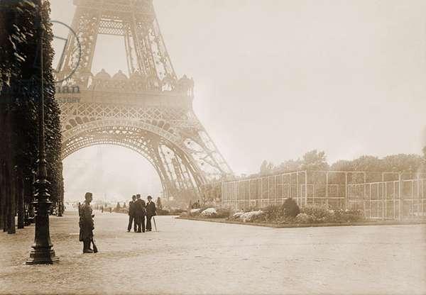 View of the Eiffel Tower, Paris, France. c.1905 (b/w photo)
