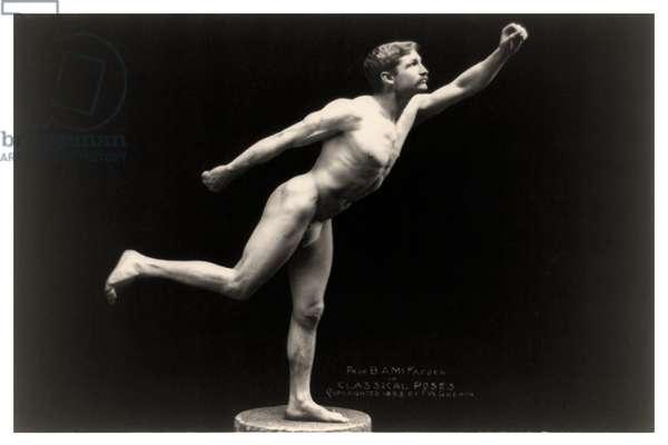 Portrait of Bernarr Macfadden standing on one foot on pedestal, 1893 (photo)