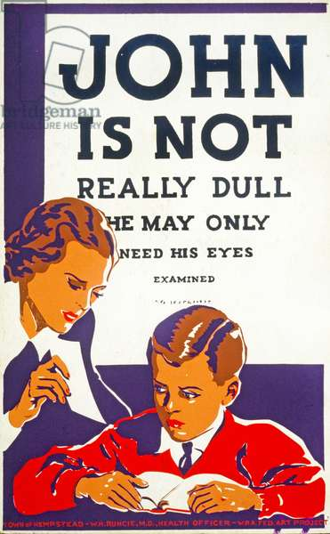 John is not really dull - he may only need his eyes examined, 1937 (colour litho)