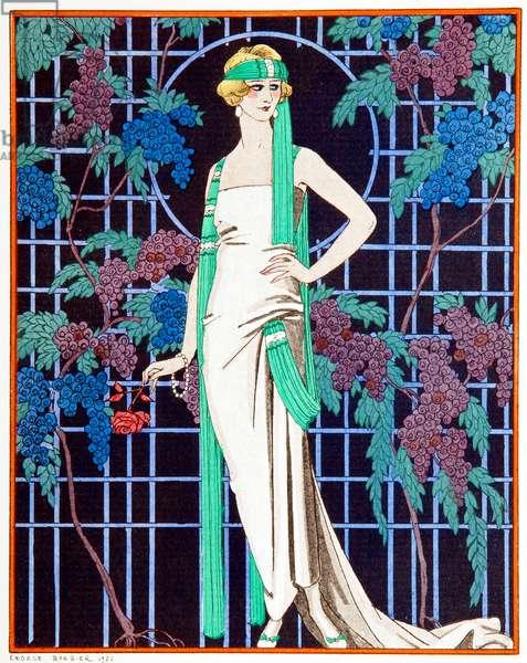 Des Roses Dans La Nuit, 1921 (pochoir)