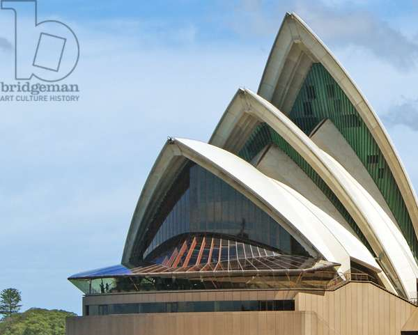 A view of the Sydney Opera House from the harbour, detail of the shells and ribs, Sydney, New South Wales (photo)