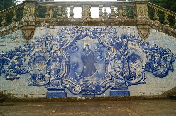 Decorative panel showing the Virgin Mary crushing the Serpent, Lamego, Portugal. 1738 (ceramic tiles)