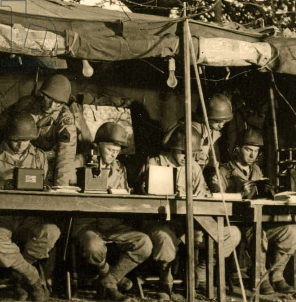 Code Takers at the Communications Post, Camp Claiborne,Louisiana,1943 (sepia photo)
