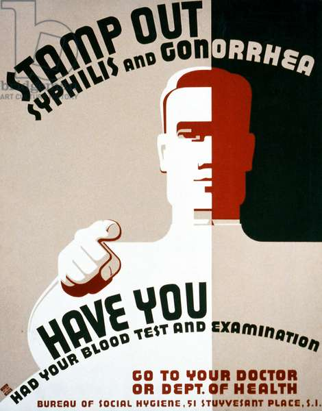 """WPA Public Health Poster, """"Stamp out Syphilis and Gonorrhea"""", 1938 (colour litho)"""