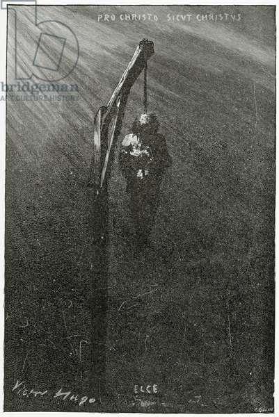 The hanging of John Brown, 19th Century (b/w engraving)