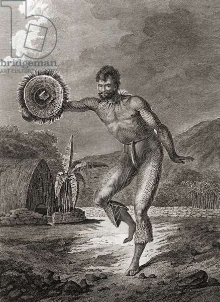 A tattooed dancer in traditional costume, Hawaii, 1778 (engraving)