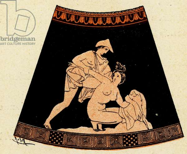 Man forcing himself on a Woman, Illustration from Notor's Lysistrata,  1898 (litho)