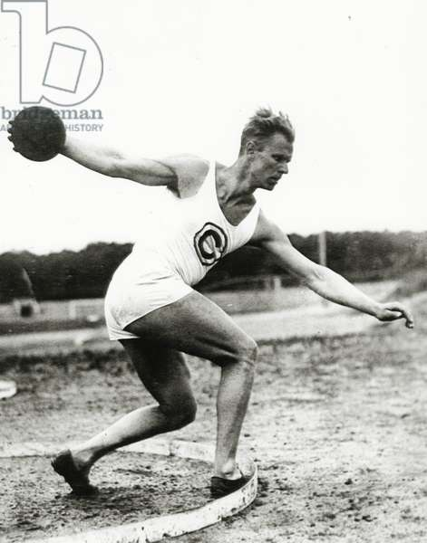 Discus Thrower at the Berlin Olympic Games, 1936 (b/w photo)