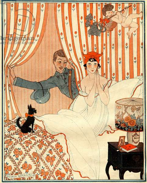 The unplanned return… Or the alarm clock  - illustration from la Vie Parisienne, 1918  (litho)