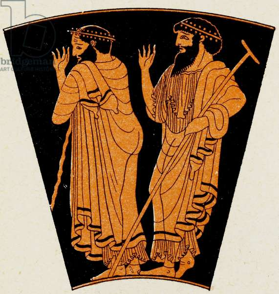 Two old men, Illustration from Notor's Lysistrata,  1898 (litho)