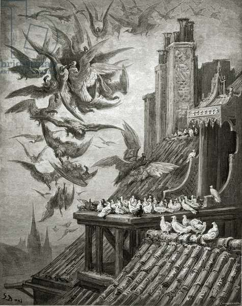 The Eagles and The Pigeons, illustration from 'Fables' by La Fontaine, 1868 (engraving)
