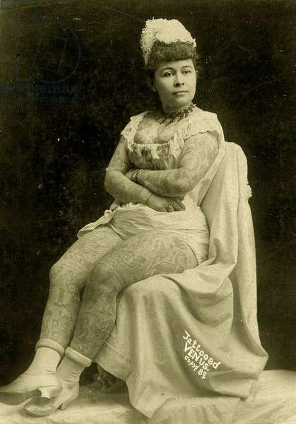 Portrait of Annie Howard, The Tattooed Lady, c.1903 (b/w photo)