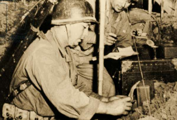 Troops at the Communications Post, Camp Claiborne,Louisiana,1943 (sepia photo)