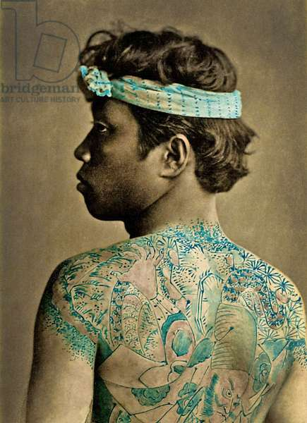 Portrait of a Man with traditional Japanese Irezumi tattoos, c.1880 (hand coloured albumen photo)