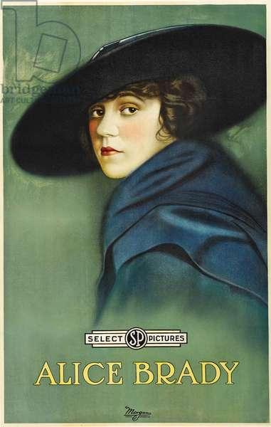 Portrait of Alice Brady (1892 – 1939) (colour litho)