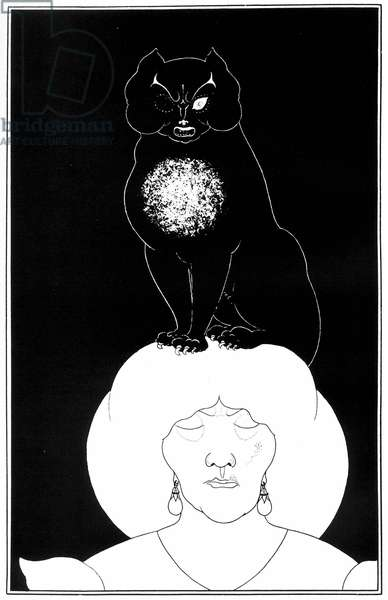 """Illustration from """"The Black Cat"""", a short story by Edgar Allan Poe, 1895 (litho)"""