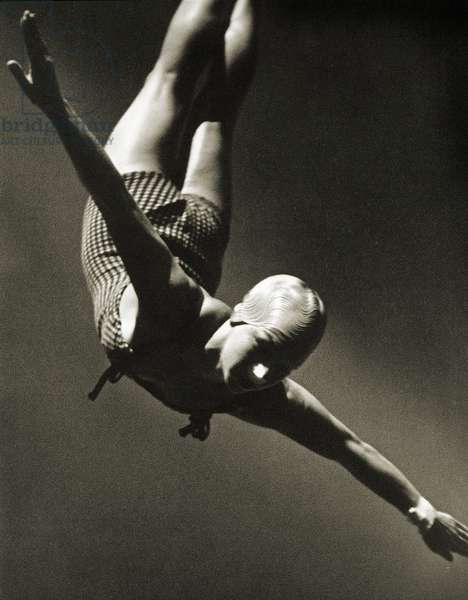 Dorothy Poynton at the Berlin Olympic Games, 1936 (b/w photo)