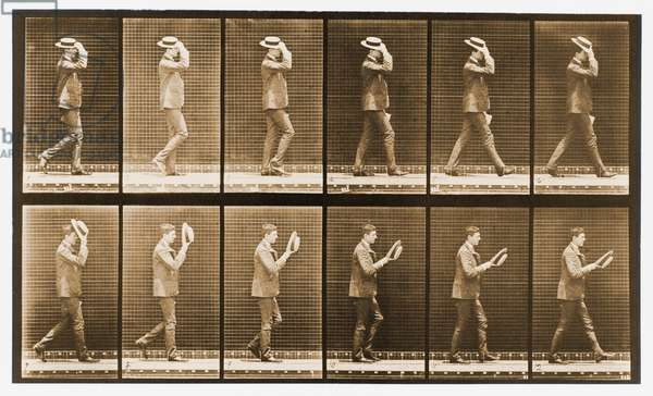 Image sequence of a man with a hat walking, 'Animal Locomotion' series, c.1887 (b/w photo)