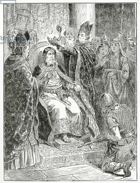 The coronation of Edward the confessor,1896 (engraving).
