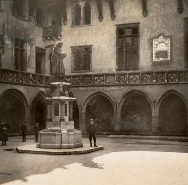 Statue of Copernicus in the Courtyard of the Collegium Maius in the Jagiellonian University, Krakow, Poland, c.1905 (sepia photo)