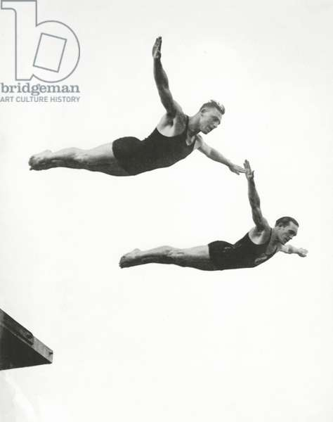 Platform Diving at the Berlin Olympic Games, 1936 (b/w photo)