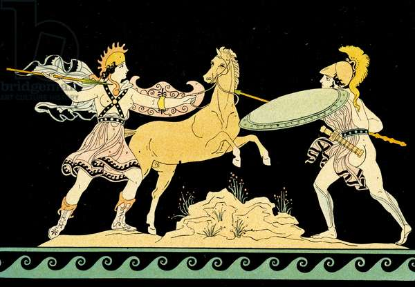 An Amazon fighting a greek warrior, Illustration from Notor's Lysistrata,  1898 (litho)