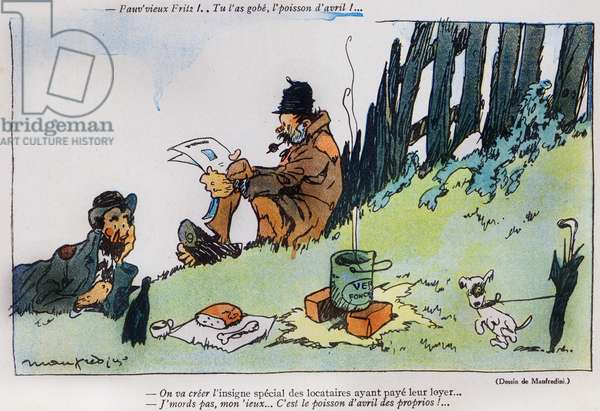 Cartoon depicting two tramps, from the 'April Fool's Day ('Poisson d'Avril') edition of 'La Baionette' magazine, 29 March 1917 (litho)