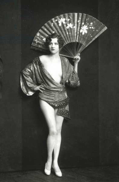 Ziegfeld Follies dancer with fan, c.1928 (b/w photo)