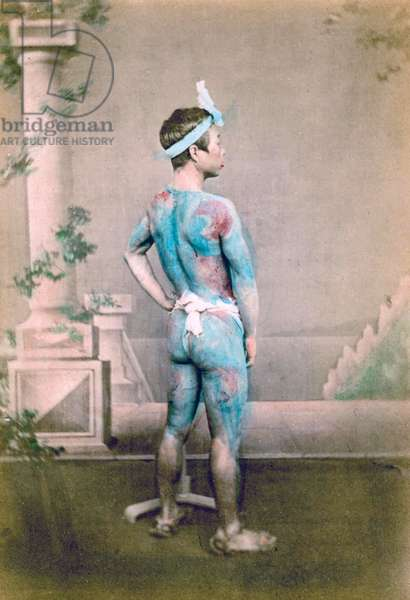 Portrait of a Groom with traditional Japanese Irezumi tattoos, c.1882 (hand coloured albumen photo)