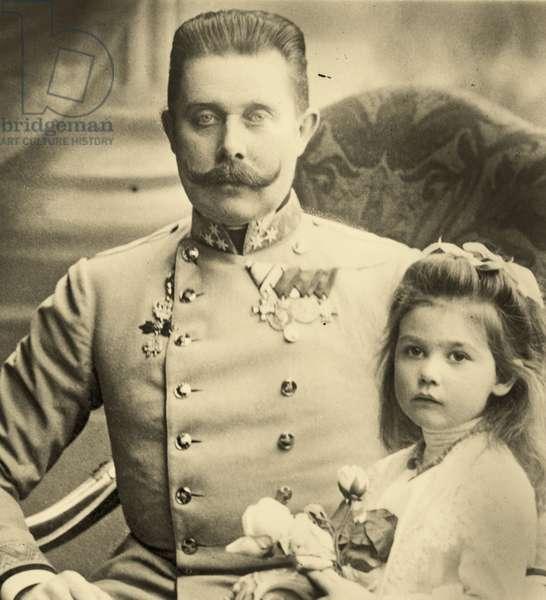 Franz Ferdinand with Princess Sophie (b/w photo)