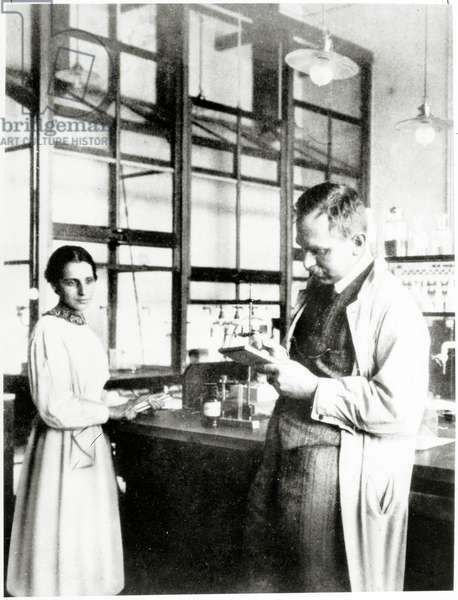 Otto Hahn and Lise Meitner in their laboratory c.1934 (b/w photo)